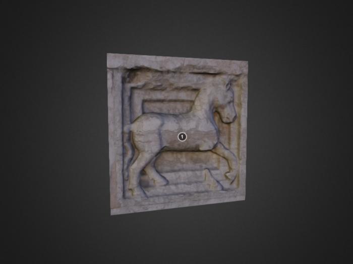 Zooforo di Benedetto Antelami (n. 25) a Parma: cavallo